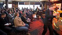 DEN HAAG - EHF voorzitter Marijke Fleuren (m) tijdens de persbijeenkomst met betrekking tot het te houden WK hockey 2014 in het Kyocera voetbalstadion. FOTO KOEN SUYK