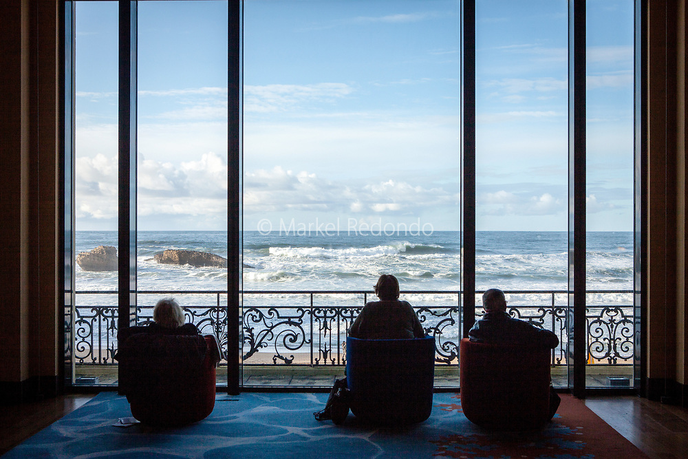 Looking at the Atlantic sea from the Casino, Biarritz, France.