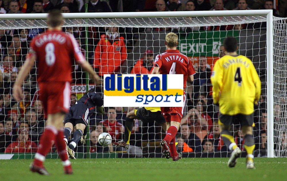 Photo: Paul Thomas.<br /> Liverpool v Arsenal. Carling Cup. 09/01/2007.<br /> <br /> Jeremie Aliadiere (3rd R, partially obstructed by Red 4) of Arsenal scores their first goal of the night.