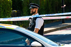 A large cordon remains in place where a man in his 40s was stabbed on Latchmere Road in Battersea in the afternoon of July 3rd 2019, dying later that evening in hospital.. London, July 04 2019.