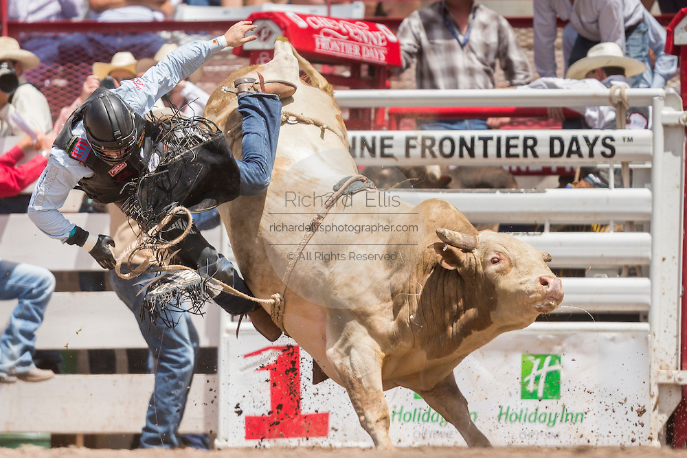 Bull rider Cody Teel is thrown from his ride at the Cheyenne Frontier Days rodeo at Frontier Park Arena July 24, 2015 in Cheyenne, Wyoming. Frontier Days celebrates the cowboy traditions of the west with a rodeo, parade and fair.