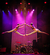 Aerialists from Carl Mack Presents perform at the IAS  Voodoo Magic Bash at the House of Blues