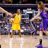 24 August 2014: Los Angeles Sparks forward/center Sandrine Gruda (7) looks to pass the ball during the Phoenix Mercury 93-68 victory over the Los Angeles Sparks, in a Conference Semi-Finals at the Staples Center, Los Angeles, California, USA.