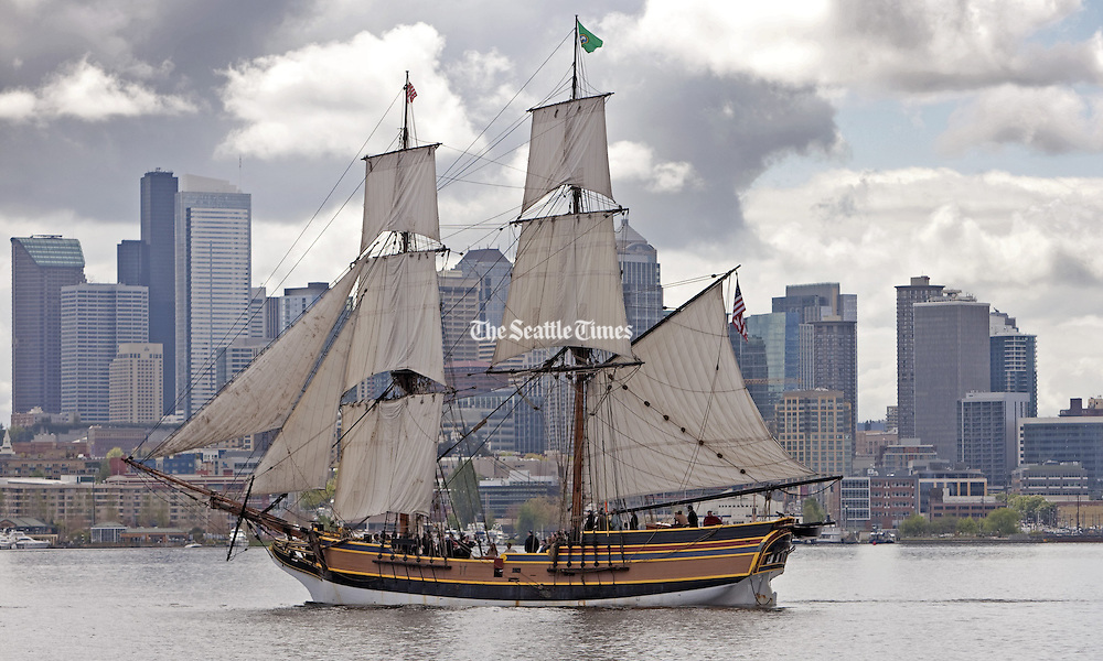 Washington's tall ship The Lady Washington sails through Lake Union in front of Seattle's skyline.  (Greg Gilbert / The Seattle Times)