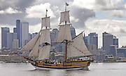 Washington's tall ship The Lady Washington sails through Lake Union in front of Seattle's skyline.  (Greg Gilbert / The Seattle Times)