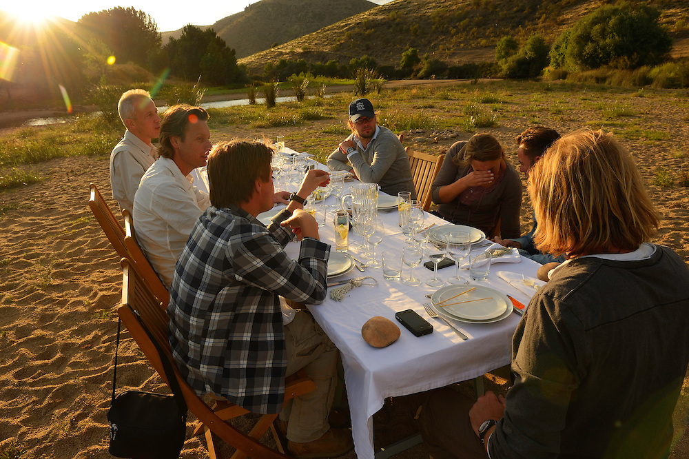 Visit by the film team from the Dutch Postcode lottery, including Martijn Krabbé, and journalist Ben van Raij from De Volkskrant, in the Faia Brava reserve, in the Western Iberia rewilding area,  Coa valley, Portugal.  Dinner in the bush -  a öocal tourism concept for groups