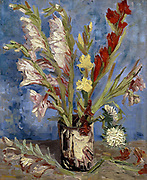 Vase with the gladioli and china asters. Oil on canvas. Painted by Vincent Van Gogh in 1886.