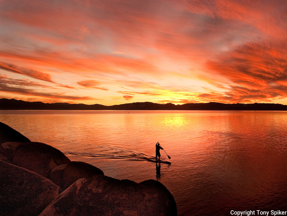 """Sand Harbor Sunset Paddle 2"" - Stand Up Paddleboards at Sand Harbor, Lake Tahoe, Nevada"