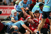 Codie Taylor celebrates. NSW Waratahs v Canterbury Crusaders. Sport Rugby Union Super Rugby Representative Provincial. ANZ Stadium. 23 May 2015. Photo by Paul Seiser/SPA Images