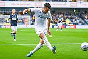 Leeds United midfielder Jack Harrison (22) sets up Leeds United defender Ezgjan Alioski (10) goal during the EFL Sky Bet Championship match between Millwall and Leeds United at The Den, London, England on 5 October 2019.