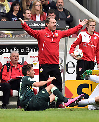 26.09.2015, Mercedes Benz Arena, Stuttgart, GER, 1. FBL, VfB Stuttgart vs Borussia Moenchengladbach, 7. Runde, im Bild Trainer Coach Alexander Zorniger VfB Stuttgart am Spielfeldrand regt sich auf Gestik, Geste // during the German Bundesliga 7th round match between VfB Stuttgart and Borussia Moenchengladbach at the Mercedes Benz Arena in Stuttgart, Germany on 2015/09/26. EXPA Pictures © 2015, PhotoCredit: EXPA/ Eibner-Pressefoto/ Weber<br /> <br /> *****ATTENTION - OUT of GER*****