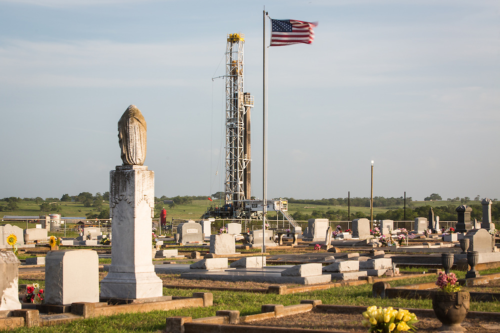 Cemetery in Westhoff, Texas part of DeWitt County in the Eagle Ford Shale where the industry is booming.