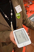 Buchmesse Frankfurt, biggest book fair in the World. Bookeen Cybook Opus ebook reader.