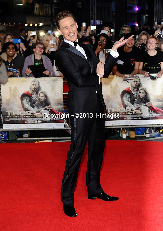 Tom Hiddleston arriving for the premiere of Thor: The Dark World, in London, Tuesday, 22nd October 2013. Picture by i-Images