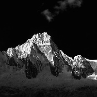 Cordillera Blanca in the Andes Mountains of Peru photographed from the Santa Cruz trek.