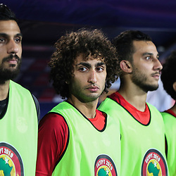 06 July 2019, Egypt, Cairo: Egypt's Amr Warda (2-L) is pictured on the sidelines prior to the start of the 2019 Africa Cup of Nations round of 16 soccer match between Egypt and South Africa at Cairo International Stadium. Photo : PictureAlliance / Icon Sport
