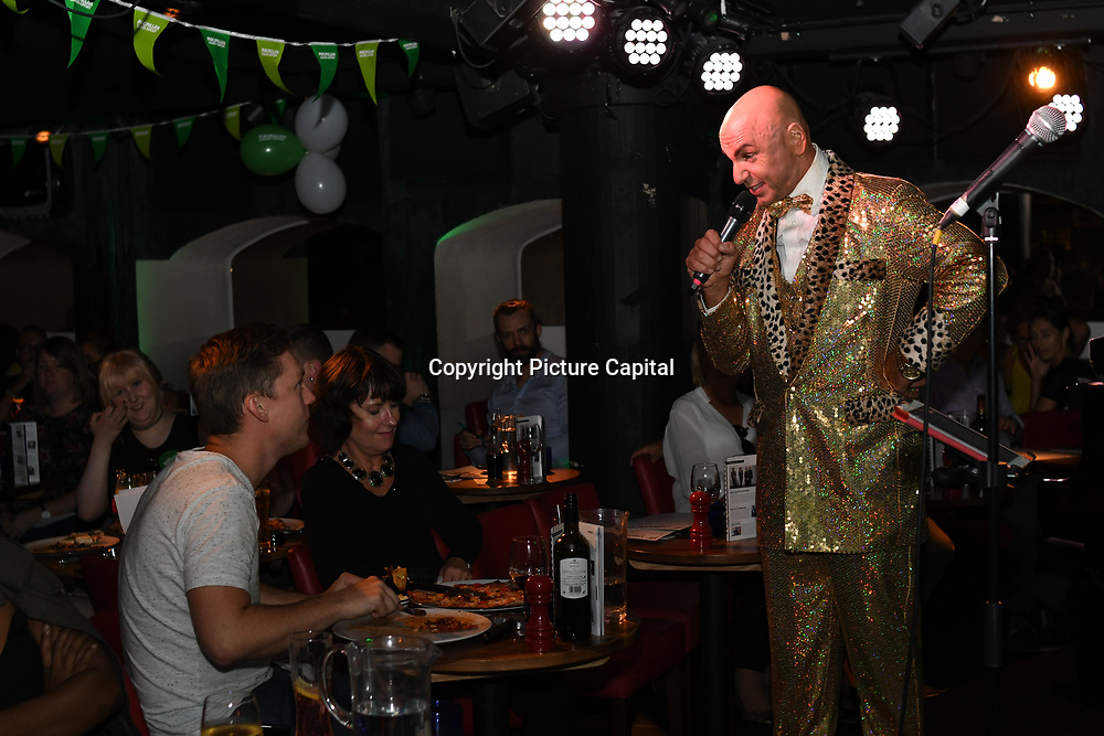 Simon Goss of SHOWBIZ host Macmillan - charity gala at Pizza Express Dean Street on 8 August 2018, London, UK.