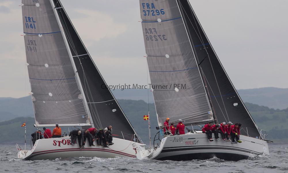 Silvers Marine Scottish Series 2017<br /> Tarbert Loch Fyne - Sailing<br /> <br /> IRL1141, Storm, Pat Kelly and FRA37296, Triple Elf, Christine Murray, CCC/Fairlie YC, Beneteau First 35<br /> Credit: Marc Turner / CCC