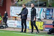Robbie Neilson, manager of Dundee United FC (left) during the William Hill Scottish Cup quarter final match between Dundee United and Inverness CT at Tannadice Park, Dundee, Scotland on 3 March 2019.
