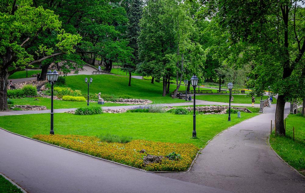 RIGA, LATVIA - CIRCA MAY 2014: View of Bastion Hill Park in Riga