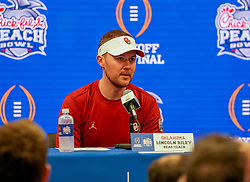Oklahoma Sooners head coach Lincoln Riley at the press conference after  the 2019 College Football Playoff Semifinal at the Chick-fil-A Peach Bowl on Saturday, Dec. 28, in Atlanta. (Marvin Gentry via Abell Images for the Chick-fil-A Peach Bowl)