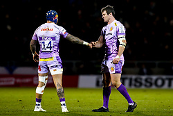 Ian Whitten and Jack Nowell of Exeter Chiefs fist bump - Mandatory by-line: Robbie Stephenson/JMP - 08/12/2019 - RUGBY - AJ Bell Stadium - Manchester, England - Sale Sharks v Exeter Chiefs - Heineken Champions Cup