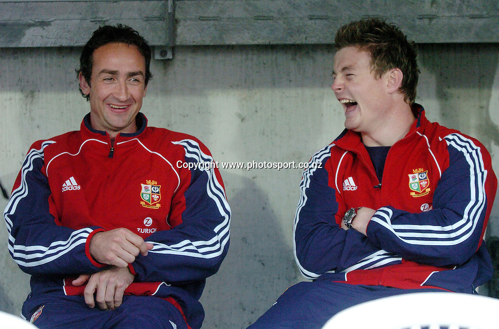 CAPTION: LIONS CAPTAIN BRIAN O'DRISCOLL (R) IS IN GOOD SPIRITS AS HE SHARES A JOKE WITH CONDITIONING COACH DAVE REDDIN AHEAD OF TOMORROW EVENINGS CLASH AGAINST THE MAORI<br />