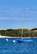 Picturesque sailboat  anchored in Oak Bluffs harbor, Martha's Vineyard, Massachusetts, USA.