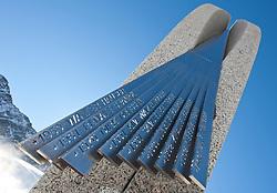 14.10.2010, Rettenbachferner, Soelden, AUT, OeSV Training am Rettenbachferner, im Bild Denkmal erinnert an das  Seilbahnunglücks am 5. September 2005. Damals starben sechs Kinder und drei Erwachsene, die zum Skifahren auf den Berg hinauf wollten, als ein Hubschrauber einen Betonkübel verlor, als er über eine Seilbahn flog. Der 680 Kilogramm schwere Kübel löste sich und stürzte ab . EXPA Pictures © 2010, PhotoCredit: EXPA/ J. Groder