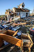 April 28, 2014 - Vilonia, Arkansas, U.S. -<br /> <br /> Killer Tornadoes Rip Through Arkansas And Oklahoma<br /> <br /> A home lies in ruins in the small town of Vilonia in central Arkansas' Faulkner county Monday morning after a tornado tore an 80-mile path from Ferndale to El Paso Arkansas Sunday night. Tornado season has gotten off to a deadly start as tornadoes ripped through south-central United States on Monday leaving whole neighbourhoods destroyed and at least 17 people killed in Arkansas. It's the year's worst tornado outbreak so far, with meteorologists listing 31 tornado reports on Sunday alone. <br /> ©Exclusivepix