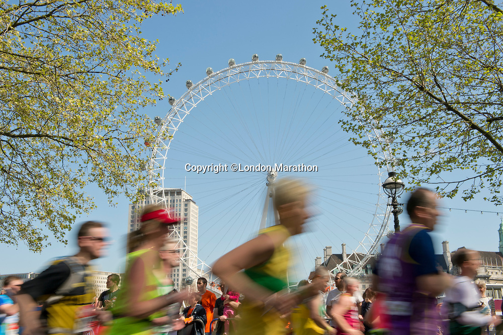 London Eye<br /> <br /> The Virgin Money London Marathon 2014<br /> 13 April 2014<br /> Photo: Tom Lovelock/Virgin Money London Marathon<br /> media@london-marathon.co.uk