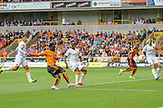 Wolves Nouha Dicko has an early attempt at goal during the Sky Bet Championship match between Wolverhampton Wanderers and Hull City at Molineux, Wolverhampton, England on 16 August 2015. Photo by Shane Healey.