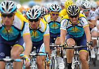 Sykkel<br /> Tour de France<br /> Foto: DPPI/Digitalsport<br /> NORWAY ONLY<br /> <br /> CYCLING - TOUR DE FRANCE 2009 - PERPIGNAN (FRA) - 08/07/2009 <br /> <br /> STAGE 5 - LE CAP D'AGDE > PERPIGNAN - LANCE ARMSTRONG (USA) / ASTANA - ALBERTO CONTADOR (ESP) / ASTANA