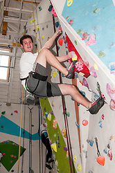Medical students and volunteers students from the University of Edinburghendured a training session on a climbing wall ahead of their research trip to the Andes which will study the effects of altitude and low-oxygen environments on the human body. Harry Newmark looks relaxed as he looks ahead to next month's trip to Bolovia. Centre for Sport and Excellence, University of Edinburgh24 April 2014 (c) GER HARLEY | StockPix.eu