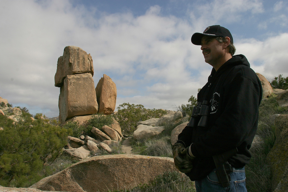 ..Greg Imus a minuteman member patrolling the U.S  border in Boulevard about 65 miles (104.6 km) east of downtown San Diego try to stop undocumented immigrants that try to cross the border to the U.S..21 April 2006........