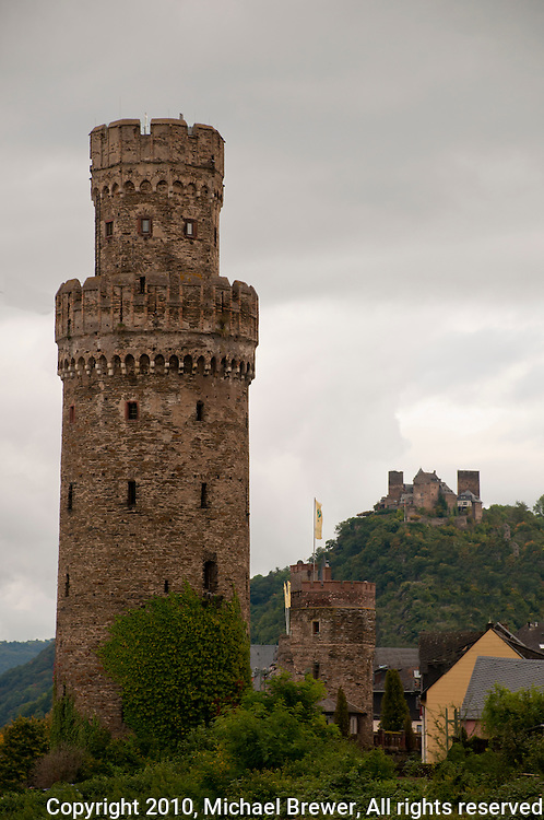 Germany, River Rhine. Hilltop  Castles and Towers along the Rhine in Southern Germany.