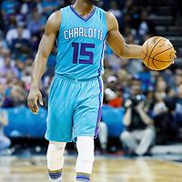 01 November 2015: Charlotte Hornets guard Kemba Walker (15) brings the ball up court during the Atlanta Hawks 94-92 victory over the Charlotte Hornets, at the Time Warner Cable Arena, in Charlotte, North Carolina, USA.
