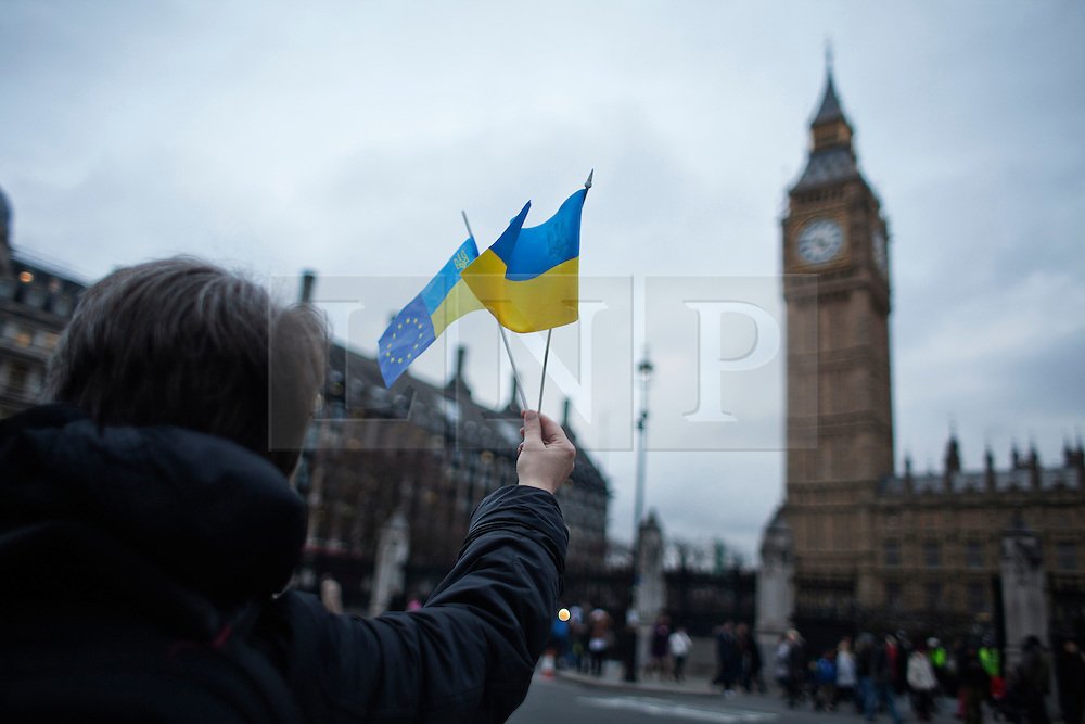 © Licensed to London News Pictures. 19/02/2014. London, UK. Ukrainians gather in Parliament Square asking the intervention of European Commission sanctioning Yanukovych government after weeks of clashes in Kiev. Photo credit : Andrea Baldo/LNP