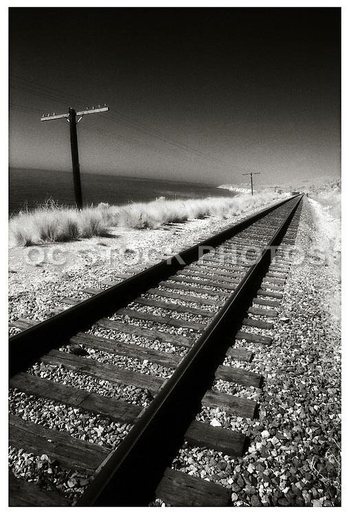 Railroad Tracks Along The Coast Of California