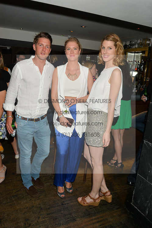 Left to right, HENRY WARHURST, GENEVIEVE SCOTT and SUSANNA WARREN at the launch of Geisha at Ramusake hosted by Piers Adam and Marc Burton at Ramusake, 92B Old Brompton Road, London on 11th June 2015.