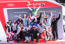 March 9, 2019 - Kranjska Gora, Kranjska Gora, Slovenia - Marco Odermatt of Switzerland celebrating with his team  at the Audi FIS Ski World Cup Vitranc on March 8, 2019 in Kranjska Gora, Slovenia. (Credit Image: © Rok Rakun/Pacific Press via ZUMA Wire)