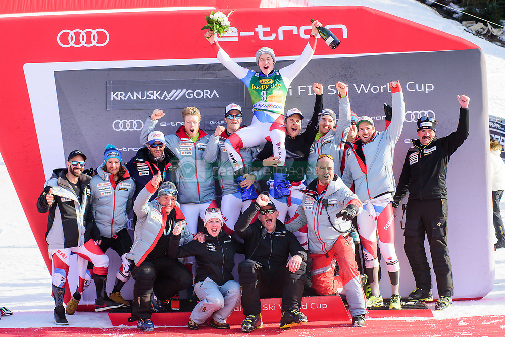 March 9, 2019 - Kranjska Gora, Kranjska Gora, Slovenia - Marco Odermatt of Switzerland celebrating with his team  at the Audi FIS Ski World Cup Vitranc on March 8, 2019 in Kranjska Gora, Slovenia. (Credit Image: © Rok Rakun/Pacific Press via ZUMA Wire)