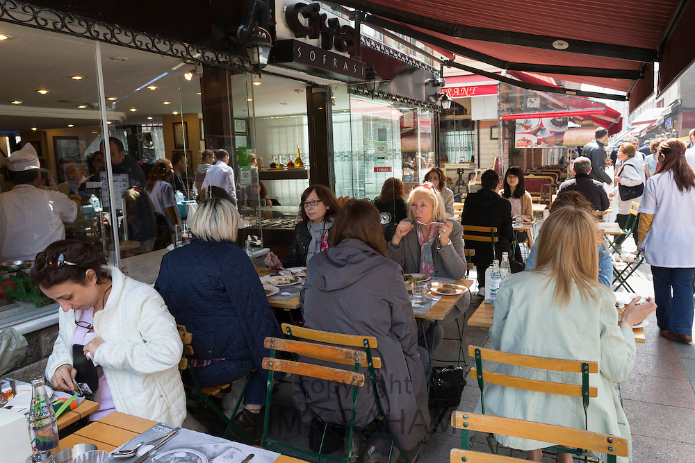 Diners at Ciya Sofrasi Turkish restaurant by food market in Kadikoy district on Asian side of Istanbul, East Turkey