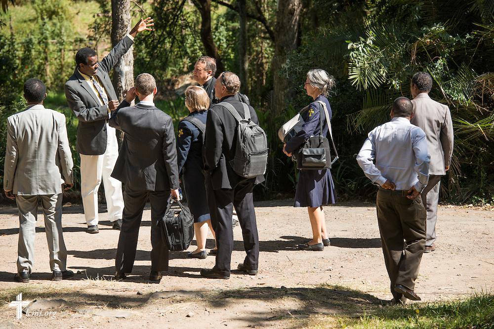 Mekane Yesus Seminary President Rev. Dr. Belay Gula leads an LCMS delegation on a tour through the Mekane Yesus Seminary on Monday, Nov. 10, 2014 in Addis Ababa, Ethiopia. LCMS Communications/Erik M. Lunsford