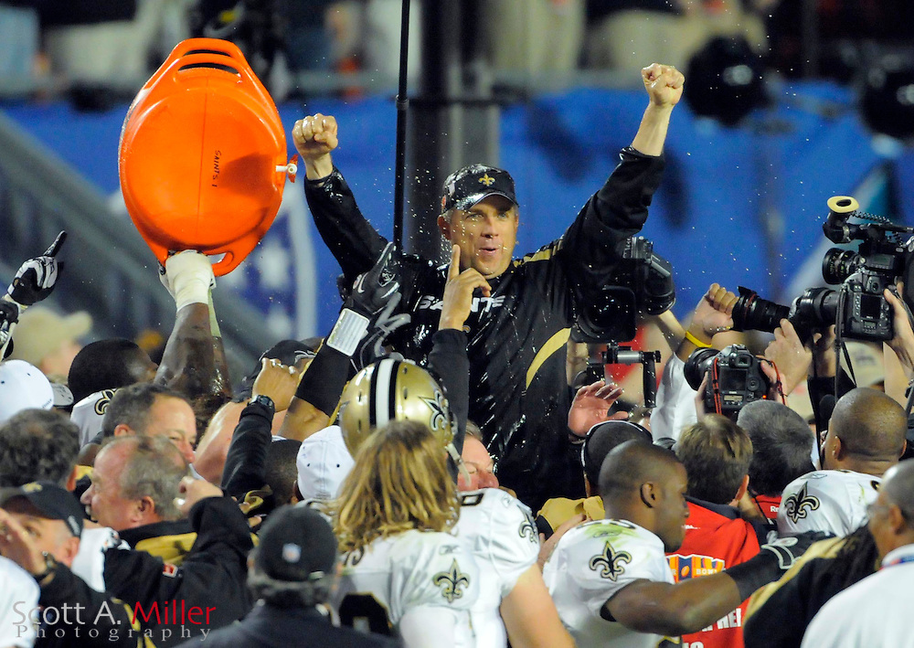 Feb 7, 2010; Miami, FL, USA; New Orleans Saints head coach Sean Payton reacts after being dunked with a bucket of Gatorade during the fourth quarter of Super Bowl XLIV against the Indianapolis Colts at Sun Life Stadium. The Saints won 31-17. ©2010 Scott A. Miller