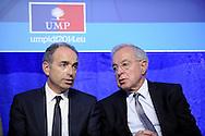Alain Lamassoure Député Européen du Sud Ouest lors du lancement de sa campagne pour les élections Européennes accompagné de  Jean-François Copé Député maire de Meaux et Président de UMP, le 07 mai 2014 à Meaux.