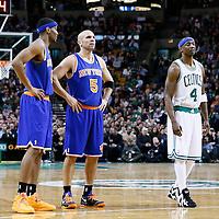 24 January 2013: New York Knicks shooting guard James White (4) and New York Knicks point guard Jason Kidd (5) rests next to Boston Celtics shooting guard Jason Terry (4) during the New York Knicks 89-86 victory over the  at the TD Garden, Boston, Massachusetts, USA.