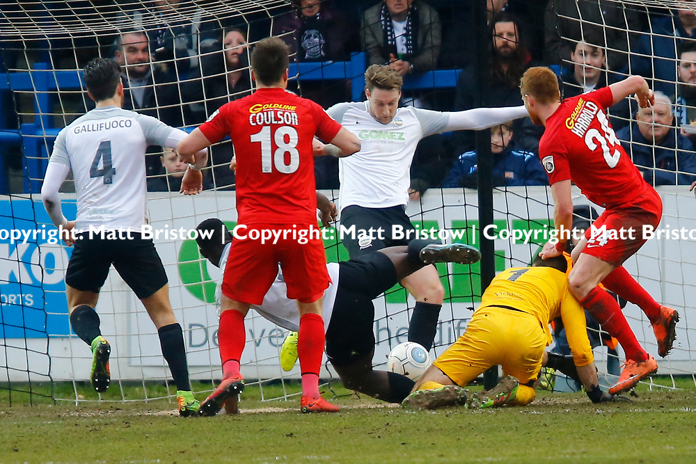 Panic in the Dover goal mouth as Dover's forward Ryan Bird clears the ball off the line during the The FA Trophy match between Dover Athletic and Leyton Orient at Crabble Stadium, Kent on 3 February 2018. Photo by Matt Bristow.