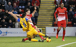 Preston North End's Bailey Wright tackles Leyton Orient's David Mooney - Photo mandatory by-line: Robin White/JMP - Tel: Mobile: 07966 386802 16/11/2013 - SPORT - FOOTBALL - Brisbane Stadium - Leyton - Leyton Orient v Preston North End - Sky Bet League One