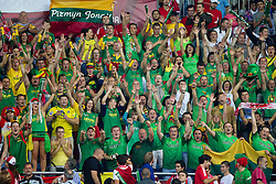 Fans of Lithuania celebrate after winning  the third-place basketball match between National teams of Serbia and Lithuania at 2010 FIBA World Championships on September 12, 2010 at the Sinan Erdem Dome in Istanbul, Turkey. Lithuania defeated Serbia 99 - 88 and win placed third.  (Photo By Vid Ponikvar / Sportida.com)